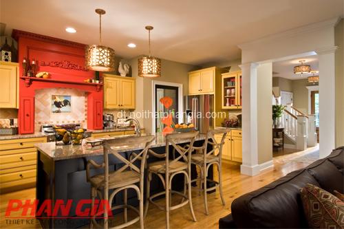 Thiết kế nội thất phòng bếp màu vàng đầm ấm