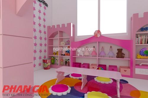Thiết kế nội thất phòng vui chơi cho bé gái đáng yêu