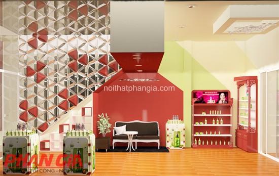 Thiết kế shop mỹ phẩm kết hợp spa Thiên Kỳ Mỹ