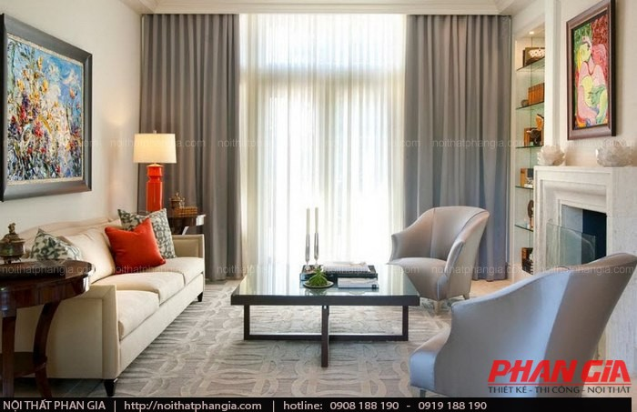 Nội thất phòng khách theo phong cách cổ điển sang trọng